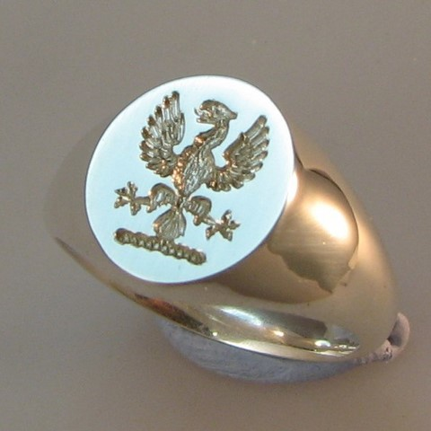 phoenix crest engraved silver signet ring