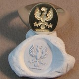 phoenix crest engraved signet ring